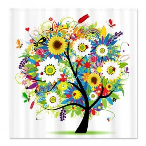 Bright Summer Tree of Colorful Flowers Shower Curtain