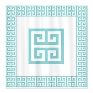 Greek Key Blue Shower Curtain