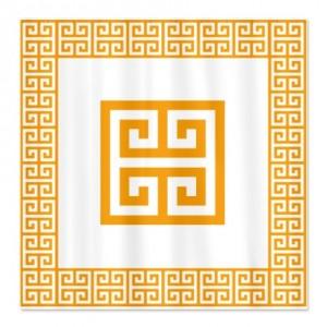 Greek Key Orange Shower Curtain