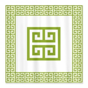 Greek Key Green Shower Curtain