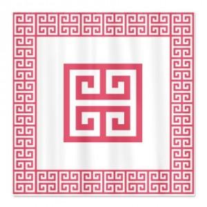 Greek Key Pink Shower Curtain