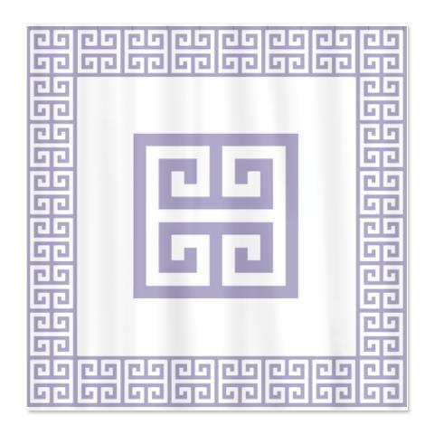 Greek Key Lavender Shower Curtain