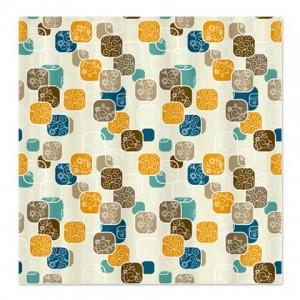 Modern Floral Blocks Pattern Shower Curtain