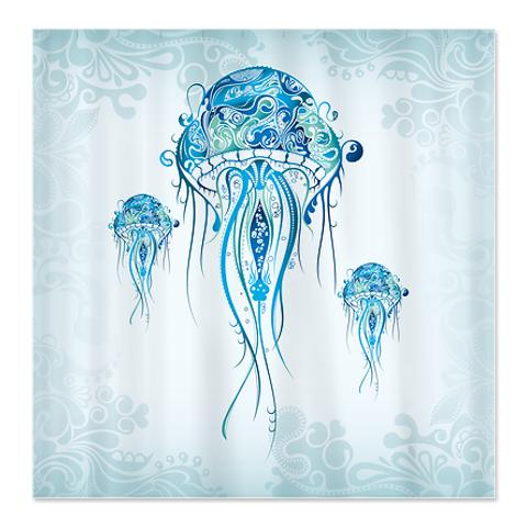 Three Jellyfish Shower Curtain
