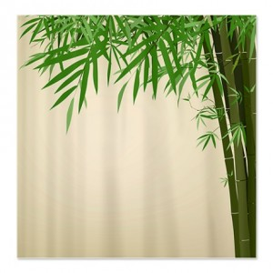 Antique Bamboo Print Shower Curtain