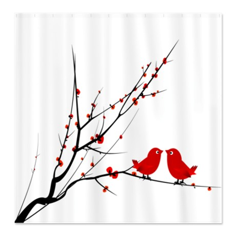 Red Love Birds Shower Curtain