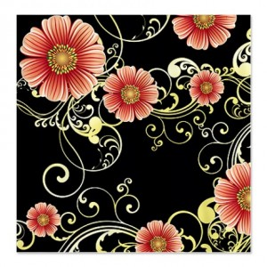 Black Gold Floral Shower Curtain