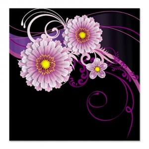 Black & Purple Floral Shower Curtain
