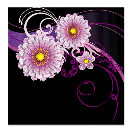 Black & Purple Floral Shower Curtain