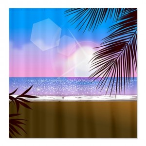 Bright Sunset Sparkle Tropical Beach Shower Curtain