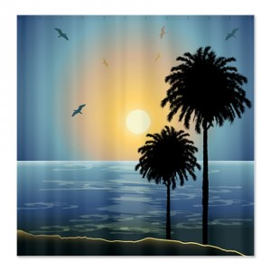 Calm Seashore Sunset Shower Curtain
