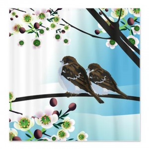 Cherry Blossom Bird Shower Curtain