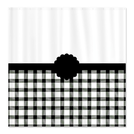 Country Chic Black and White Gingham Shower Curtain