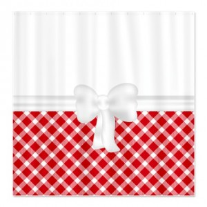 Country Chic Red and White Gingham Shower Curtain
