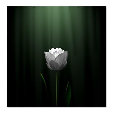 Dark Green Lotus Blossom Shower Curtain
