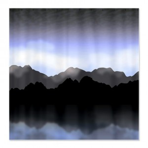 Dusky Twilight Mountain Landscape Shower Curtain