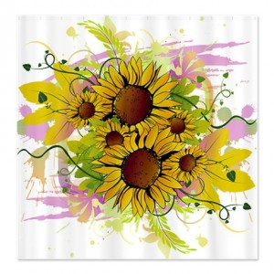 Abstract Sunflower Splash Shower Curtain