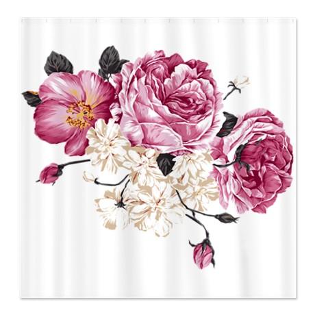 Antique Rose Design Shower Curtain