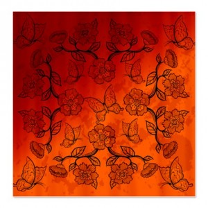 Asian-Inspired Floral Butterflies Shower Curtain