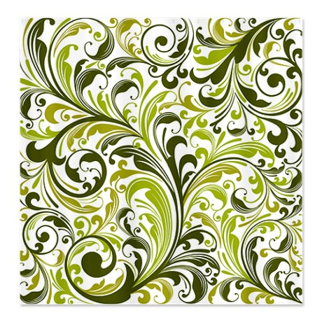 Shades of Green Floral Swirl Shower Curtain