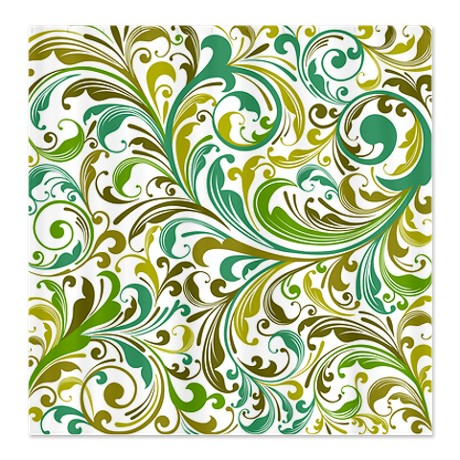 Shades of Green and Teal Floral Swirl Shower Curtain