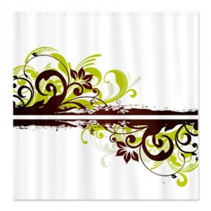 Floral Swirl Brown and Green Shower Curtain