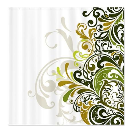 Floral Swirl Dark Green Shower Curtain