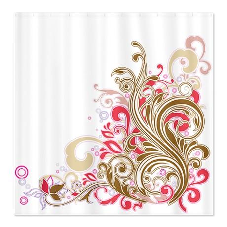 Floral Swirl Beige Shower Curtain