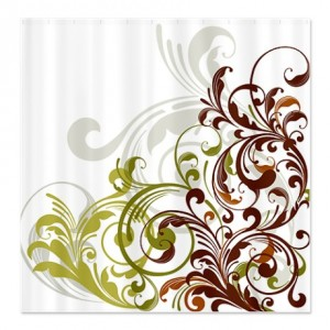 Floral Swirl Olive Green And Brown Shower Curtain