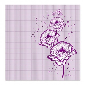 Lavender Poppy Grid Shower Curtain