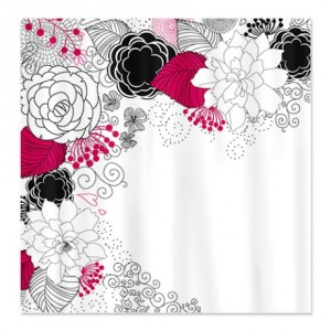 Magenta, Black, White Shower Curtain