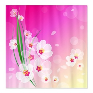 Pink Cherry Blossom Splash Shower Curtain
