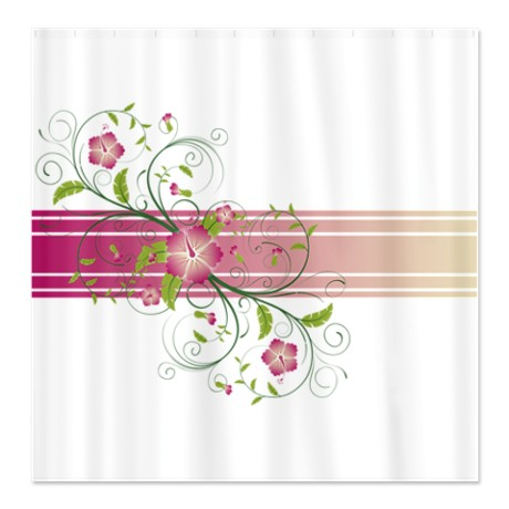 Pink Green & Beige Floral Swirl Shower Curtain
