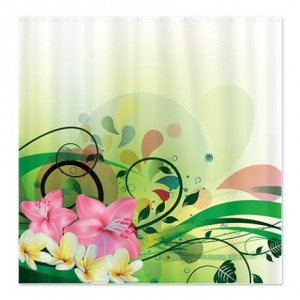 Plumeria and Hibiscus Splash Shower Curtain