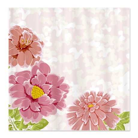 Pretty in Pink Floral Shower Curtain