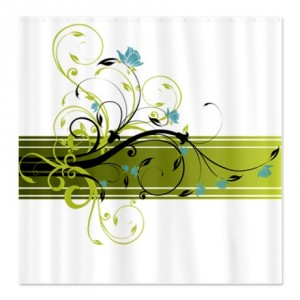 Pretty Modernist Green Floral Swirl w/Blue Roses