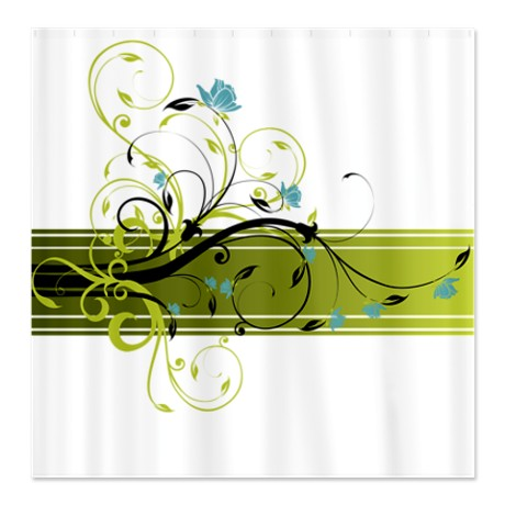 Pretty Modernist Green Floral Swirl w/Blue Roses