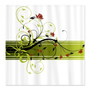 Pretty Modernist Green Floral Swirl w/Brick Roses