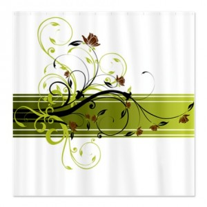 Pretty Modernist Green Floral Swirl w/Brown Roses