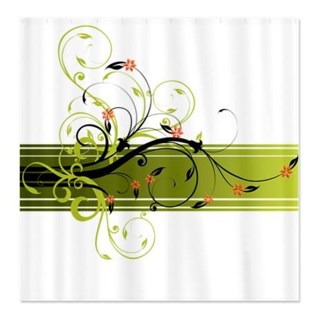 Pretty Modernist Green Floral Swirl w/Orange Roses