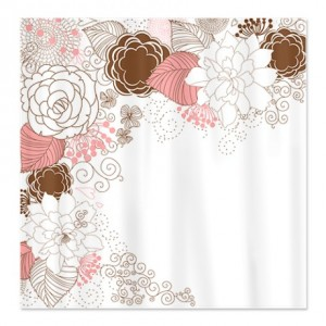 Pretty Pink Brown and White Floral Shower Curtain