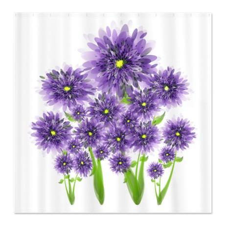 pretty purple flowers shower curtain