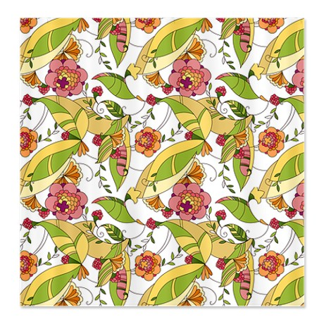 Pretty Whimsical Floral 2 Shower Curtain