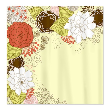 Terracotta, Tea Green,White Brown Shower Curtain