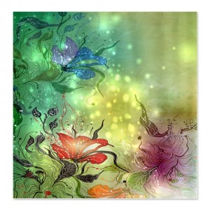 Fantasy Green Floral Abstract Shower Curtain