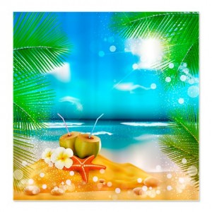 Fantasy Tropical Beach Shower Curtain