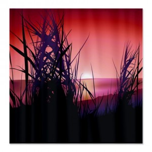 Grassy Field Sunset Landscape Shower Curtain