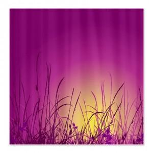 Grassy Field Sunset Landscape Shower Curtain