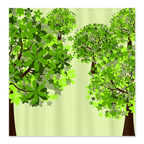 Green Floral Tree Forest Shower Curtain