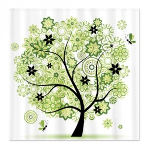 Green Floral Tree Shower Curtain